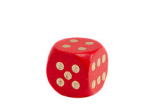Isolated one red dice Stock Photo
