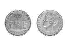 Isolated one silver peseta coin of 1900. Heads and tails of isolated one silver peseta coin on White. Year 1900. King Alfonso XIII. Spanish coin stock images