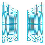 Isolated open blue iron gate fence vector Royalty Free Stock Image