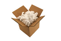 Isolated Open Cardboard Box With Packing Peanuts Stock Photos