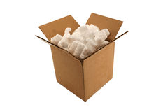 Isolated Open Cardboard Box With Packing Peanuts Royalty Free Stock Image
