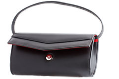 Isolated open classical style black clutch bag Royalty Free Stock Photo