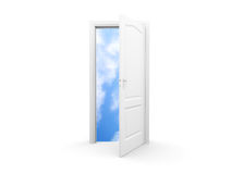 Isolated open door. An isolated white door opens new perspectives Royalty Free Stock Photography