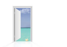 Isolated open door to beach Royalty Free Stock Photos