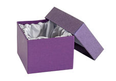Isolated open empty box & lid with satin interior. Stock Images