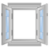 Isolated open golden window frame vector. Illustration Royalty Free Stock Photo