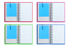 Isolated opened blank note books with memo Royalty Free Stock Photography