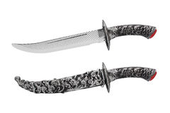 Isolated opened and closed knife with scabbard. Royalty Free Stock Photos