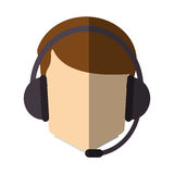 Isolated operator man with headphone design Royalty Free Stock Photos