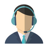 Isolated operator man with headphone design Royalty Free Stock Images