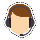 Isolated operator man with headphone design Royalty Free Stock Photo