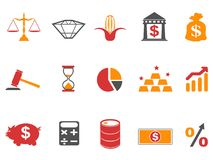 Orange color investment icons set. Isolated orange color investment icons set from white background Stock Photography