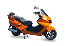Isolated orange new scooter stock photos