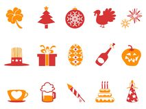 Orange red color holiday icons set. Isolated orange red color holiday icons set from white background Royalty Free Stock Images