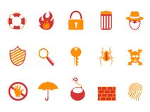 Orange and red color security icons set Stock Photo