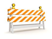 Isolated Orange Roadblock. This is a 3d rendered computer generated image. Isolated on white Royalty Free Stock Image