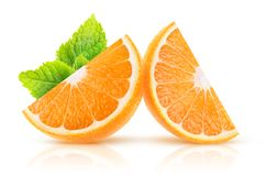 Isolated orange slices royalty free stock photography