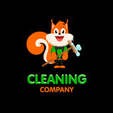 Isolated orange squirrel with mop vector logo. Cleaning company business emblem. Royalty Free Stock Photo