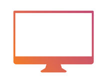 Isolated orange to pink gradient borderless television. The Isolated vector orange to pink gradient color 16:9 Aspect Ratio wide screen computer monitor with Royalty Free Stock Image