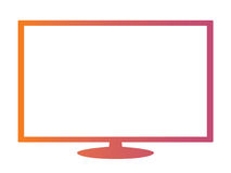 Isolated orange to pink gradient borderless television. The Isolated vector orange to pink gradient color 16:9 Aspect Ratio wide screen computer monitor with Royalty Free Stock Photos