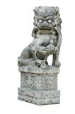 Isolated Oriental Lion Carving Statue Stock Images