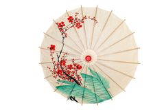 Isolated oriental umbrella with red flowers Stock Photography