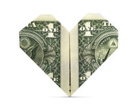 Isolated Origami Heart Royalty Free Stock Photography
