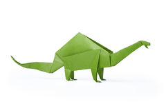 Isolated origami paper green dinosaur brontosaurus. Isolated origami paper green brontosaurus dinosaur on white background Stock Photo