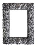 Isolated Ornate Silver Picture Frame. Isolated Beautiful Ornate Antique Solid Silver Vintage Picture Frame royalty free stock images