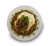 Isolated osso buco meal on white background. royalty free stock images
