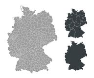 Map of Germany. Isolated outline map of Germany with counties, districts on white background Royalty Free Stock Photo