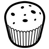 Isolated muffin outline. Isolated outline of a muffin, Vector illustration Royalty Free Stock Photos