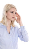 Isolated overworked businesswoman with headache Royalty Free Stock Photo