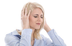 Isolated overworked businesswoman with headache. Royalty Free Stock Photo