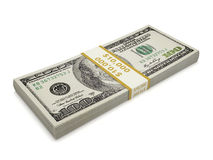 Isolated  pack of one hundred dollar bill Stock Photo