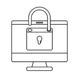 Isolated padlock and computer design Royalty Free Stock Photography