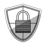 Isolated padlock inside shield design Stock Photos