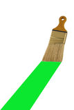 Isolated paint brush painting a green stripe stock photos
