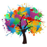 Isolated paint splash spring tree Royalty Free Stock Image