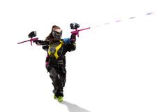 Isolated paintball player is playing the game. Isolated female paintball player is playing the game Stock Photo