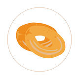 Isolated pair of bagels. On a colored button, Vector illustration Royalty Free Stock Photo