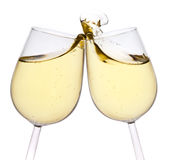 Isolated pair of champagne flutes making a toast Stock Images