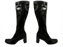 Isolated pair of knee high black leather boots with high heels stock photos