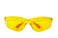 Isolated Pair Of Yellow Plastic Protective Glasses Stock Photo