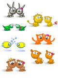 Isolated pairs of animals. Comical pair of cute animals of each species. White background. Male and female isolated Royalty Free Stock Photos