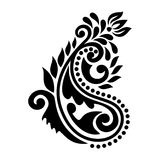 Isolated Paisley black design on white background Stock Image