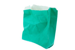 Isolated paper bag. Isolated green empty paper bag Royalty Free Stock Photo
