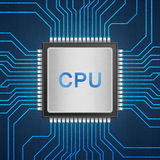 Isolated paper cut of cpu chip on blue circuit is central proces Stock Photos