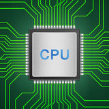 Isolated paper cut of cpu chip on green circuit is central proce Royalty Free Stock Photography