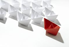 Isolated paper ships on white Stock Photos